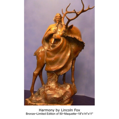 "Western Artist, Lincoln Fox, Bronze Sculpture titled, ""Harmony"" 22/75,  Cast to Order, Limited Edition of 75, #C 1687"