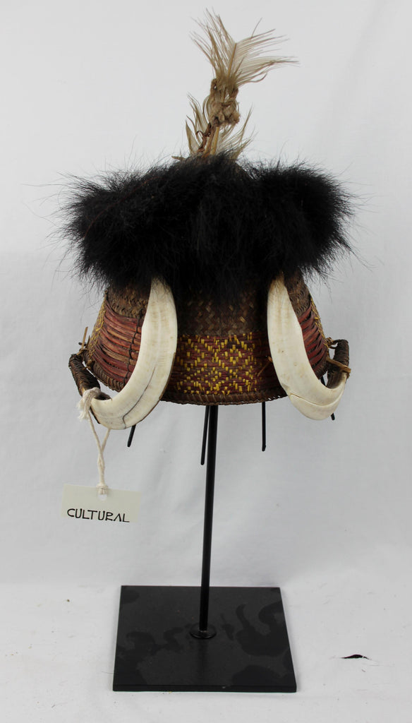 Authentic, Naga Chang Warrior Hat with Bear Fur and Wild Boar Tusks, Ca 1950's. #621