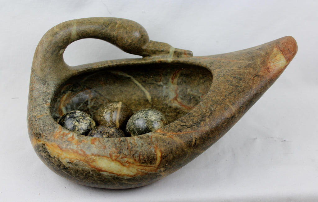 Beautiful Vintage Multi Colored Brazilian Soapstone Swan with Eggs, Ca 1980's, #1544