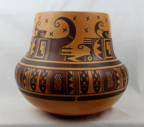 Native American Extraordinary Large Traditional Hopi Poly Chrome Pottery Jar, by Dee Setalla, # 1545