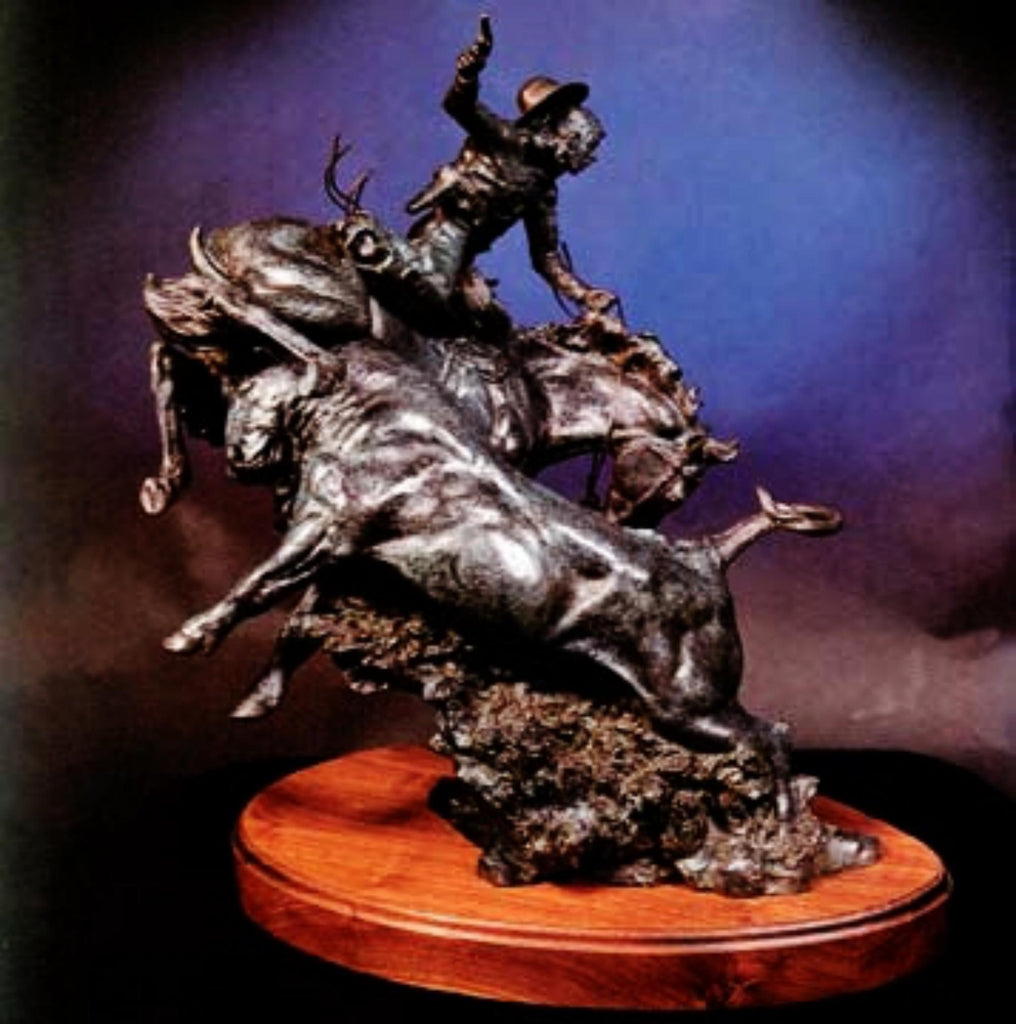 "Western Bronze Sculpture, "" Rustler's Reward"", by Jeff Wolf, Limited Edition 5 of 25, Ca 1991,#C 1554"