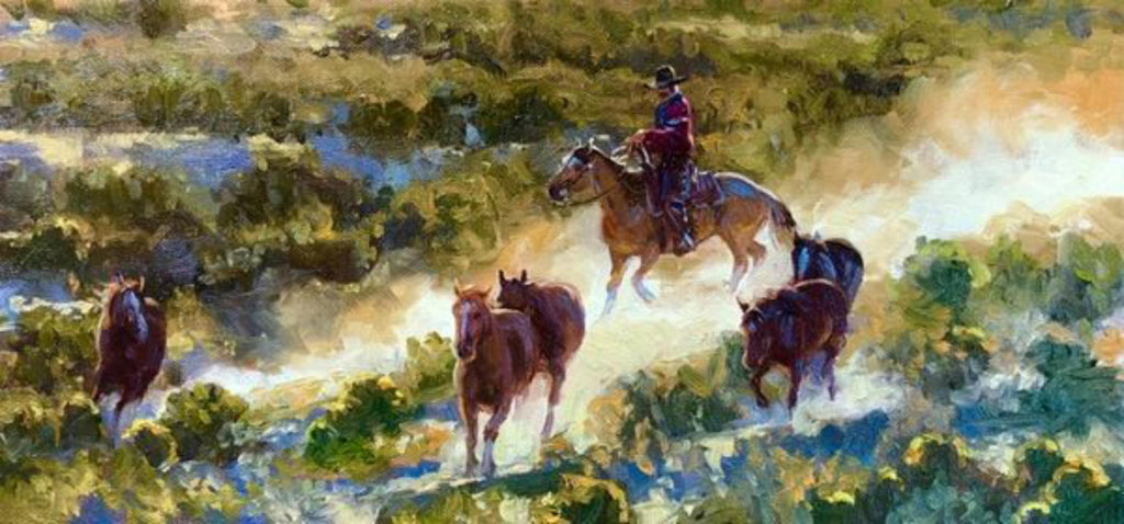 "Contemporary Western Art, ""Ponies of the Rimrock"", by Kelly Donovan # C 1586. SOLD"