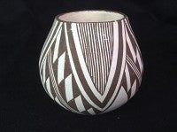 Native American Vintage Mini Acoma Pottery by M. (Miranda)  Leno, Ca 1960's, #1228