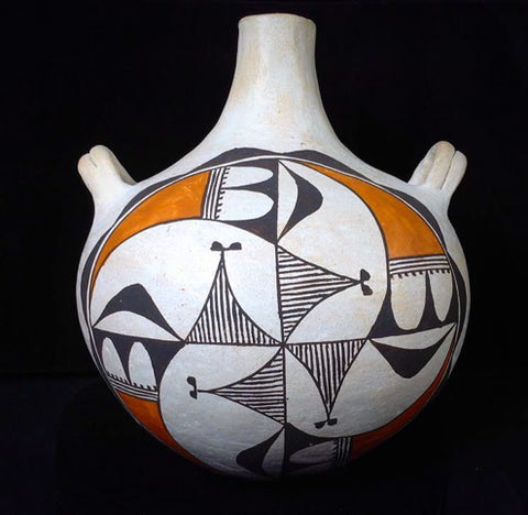 Native American, Vintage Acoma Poly Chrome Pottery Canteen, Ca 1970's, 1224