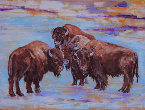 "Contemporary Western Oil Painting, Titled ""Boys in The Hood"", by Linda Gulinson, #C1429"