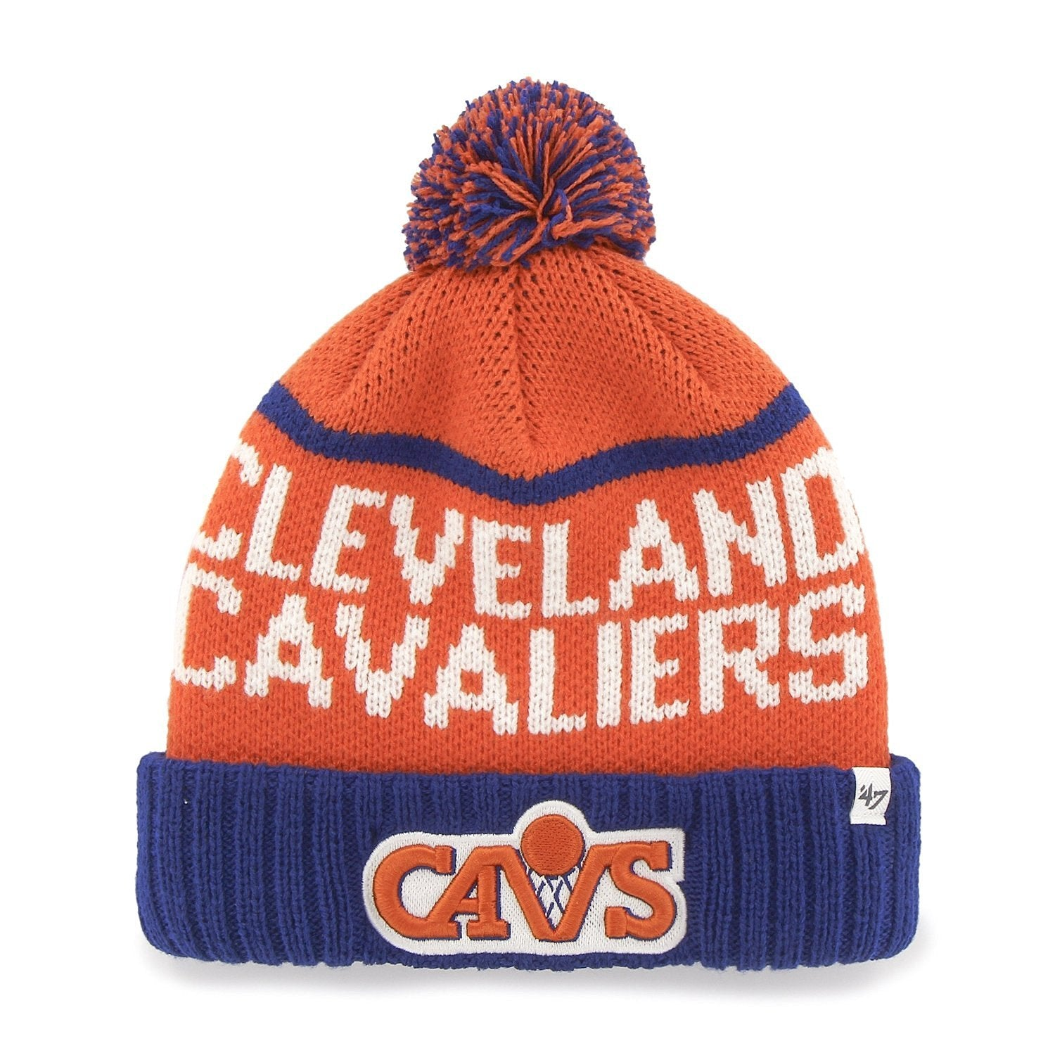 new style 4ff6a 1e2e3 NBA Officially Licensed Cleveland Cavaliers  47 Brand Linesman Knit Pom  Cuffed Embroidered Beanie Hat Cap Lid