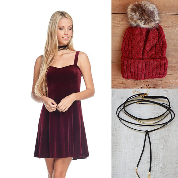 Winter Outfit Velvet Dress