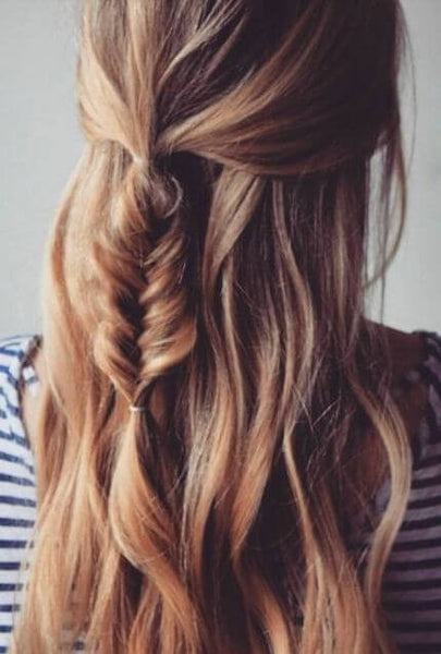 Half-up Half-down Fish Tail Braid