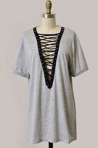 Holly Plunging V-Neck Lace Up T-Shirt Dress - Gray