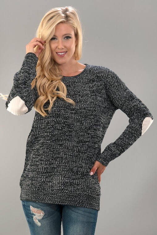 Heart Print Elbow Knitted Sweater - Black