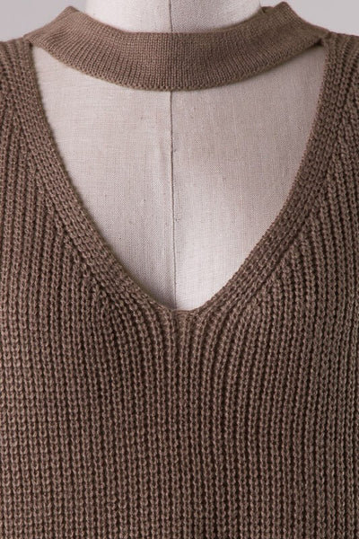 Knit Choker Sweater - Mocha