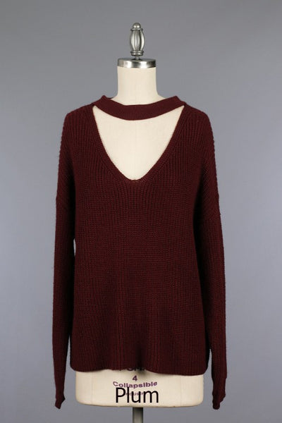 Knit Choker Sweater - Plum