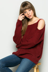 Fierce Cold Shoulder Knit Sweater - Burgundy