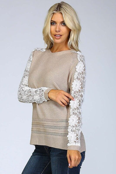 Onelly Crochet Sweater - Taupe