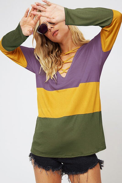 Long Sleeve Color Block Criss Cross V-Neck Top