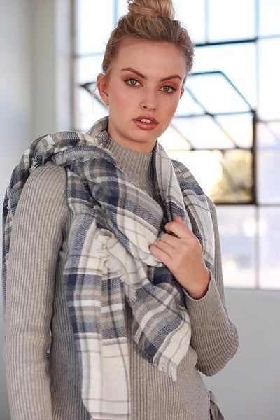 So Chill Plaid Scarf - White