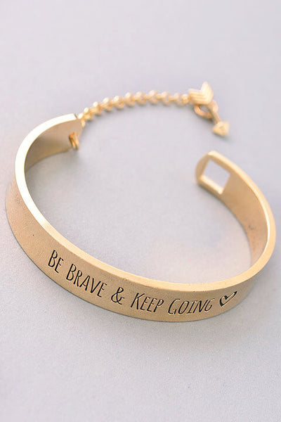 Be Brave And Keep Going Bracelet - Gold