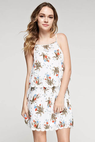 Beach Walk Floral Layered Dress - White