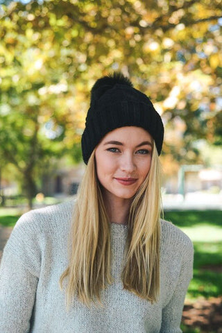 Pom Pom Knitted Beanie - Black