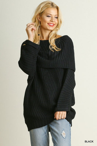 Chunky Off The Shoulder Knit Sweater - Black
