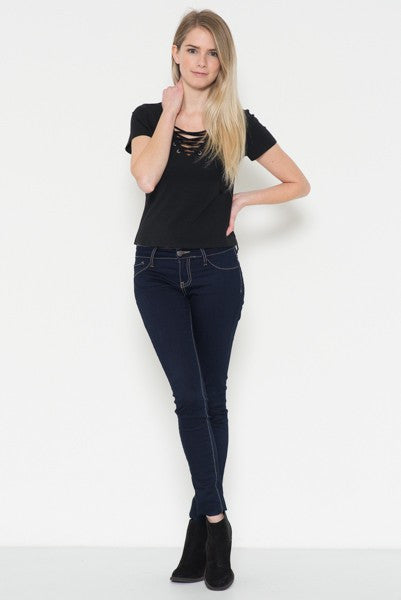 Poppy Lace Up Top - Black