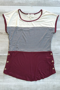 Bree Stripe Short Sleeve Top - Burgundy