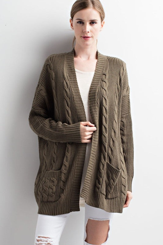 Cable Knit Cardigan - Olive