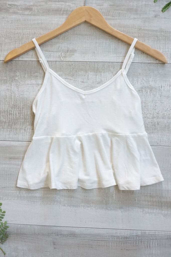 Cara Spaghetti Flowy Crop Top - White