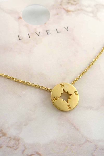 Guidance Compass Charm Necklace - Gold