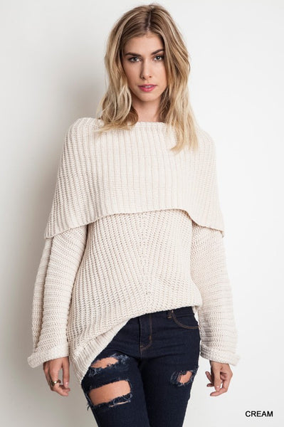 Chunky Off The Shoulder Knit Sweater - Cream