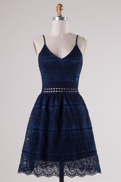 Spaghetti Strap V-Neck Crochet Lace Dress - Navy