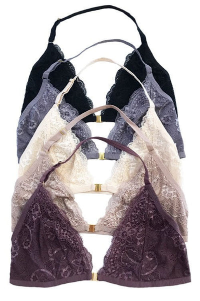 Diono Lace Halter Bralette - Dark Purple