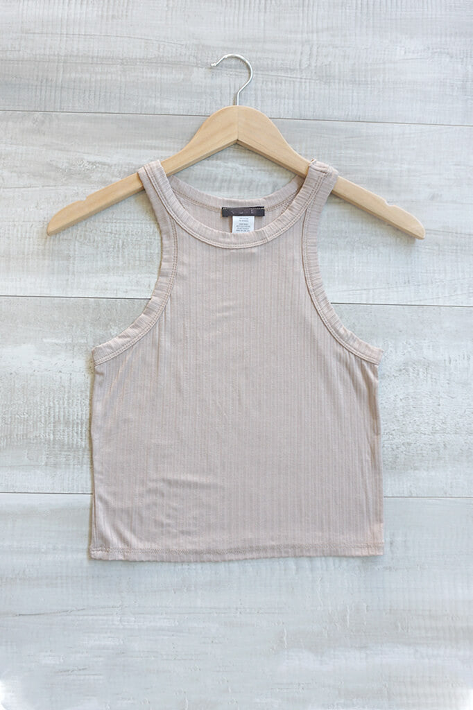 Give It All Halter Ribbed Crop Top - Taupe