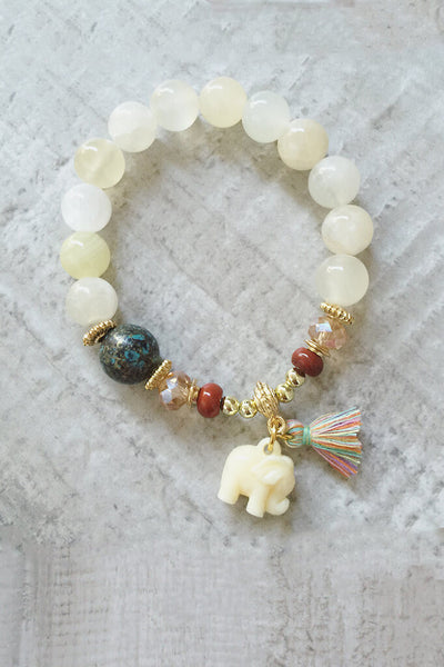 Elephant Beaded Bracelet - White