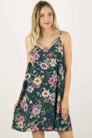 Strappy Floral Print Dress - Hunter Green