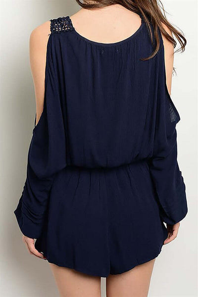 Forget Me Not Cold Shoulder Embroidered Romper - Navy