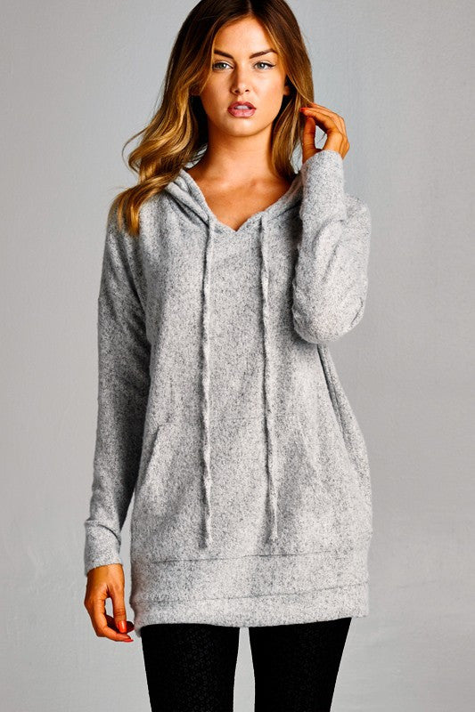 Cozy thoughts Hoodie Sweater - Heather Gray