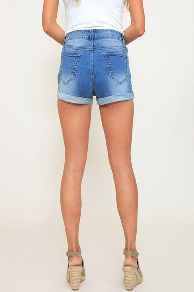 Lila Distressed Denim Shorts - Denim