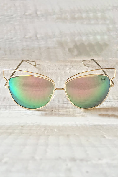 Isla Reflective Sunglasses - Gold
