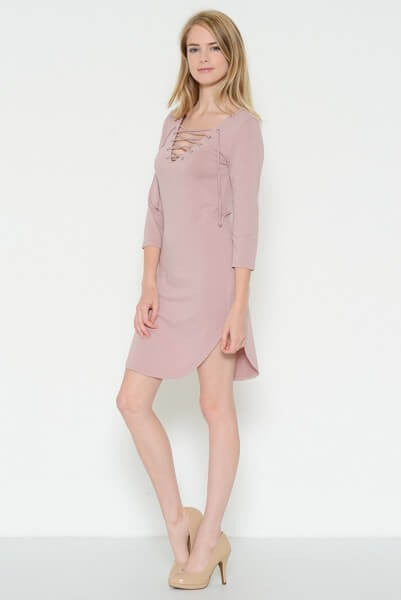 Kayla Lace Up Dress - Blush