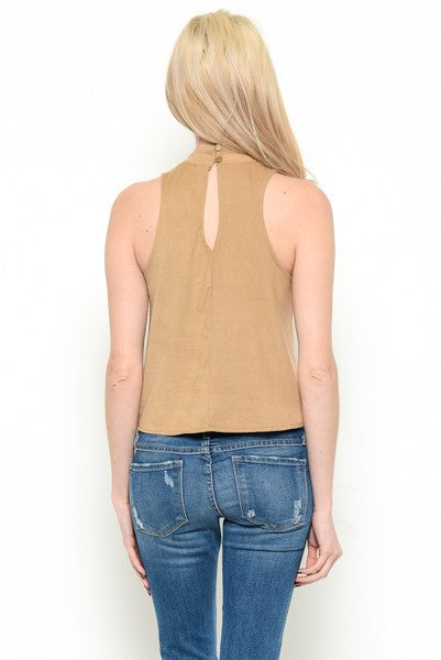 High Neck Choker Top - Camel