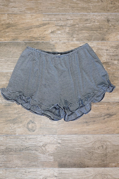 Jessa Striped Ruffle Shorts -Black