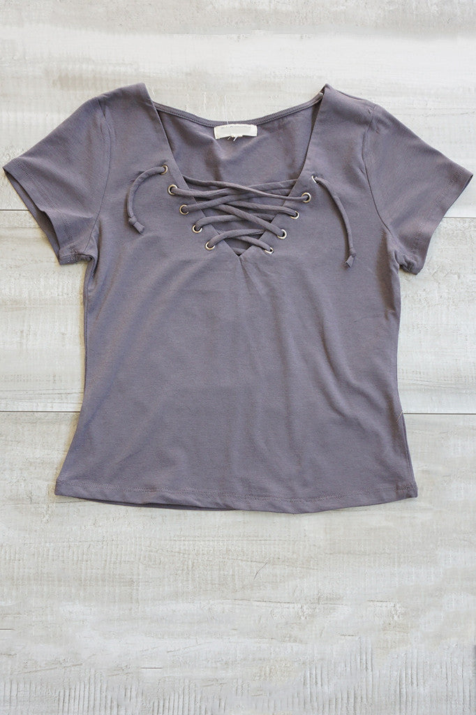 Poppy Lace Up Top - Gray