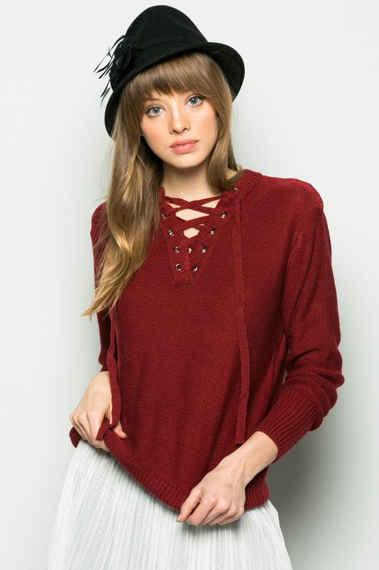 Lancer Lace Up Sweater - Red