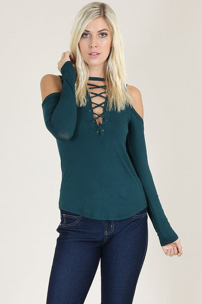 Babe Cold Shoulder Lace Up Top - Black