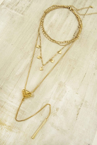 Anubis Layered Y Necklace - Gold