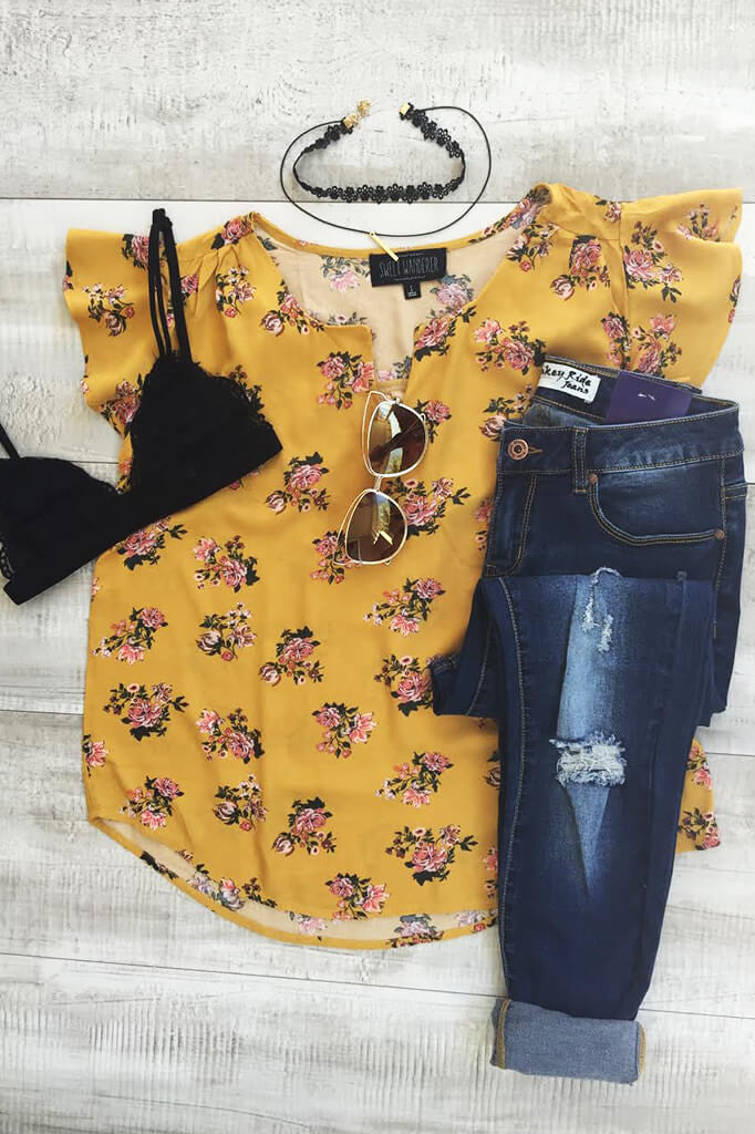 Love Struck Floral Top - Mustard