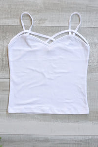 Mia Strappy Crop Top - White