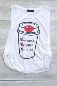 Monday Coffee Lipstick Crop Top - White
