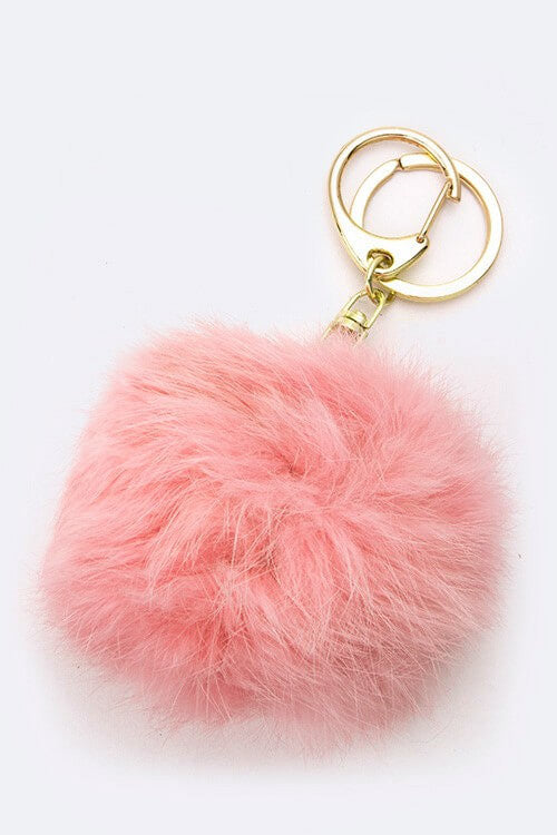 Plush Fur Ball Keychain - Peach